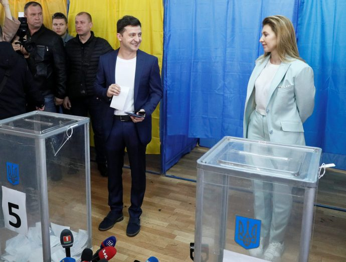 Елена и Владимир Зеленские на выборах президента Украины в 2019