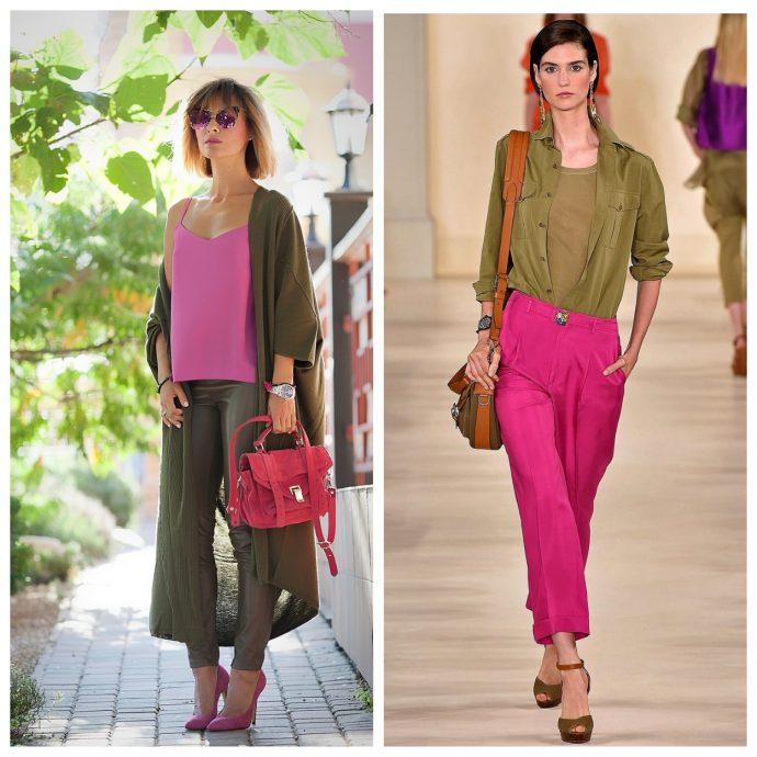 Одежда цвета хаки в сочетании с розовым