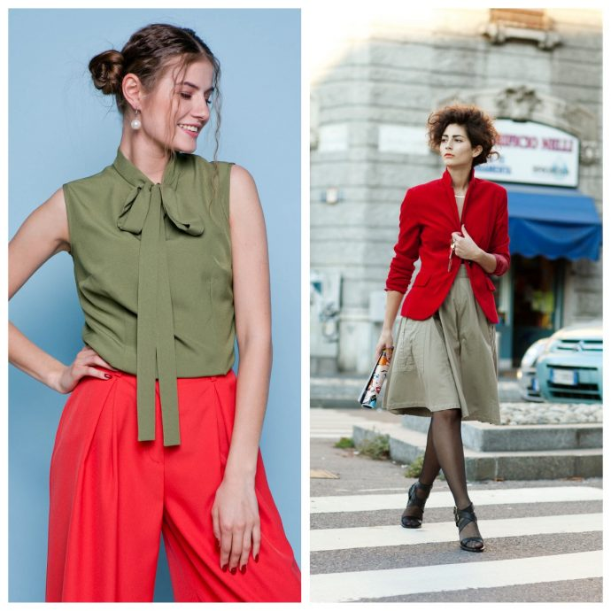 Одежда цвета хаки в сочетании с красным