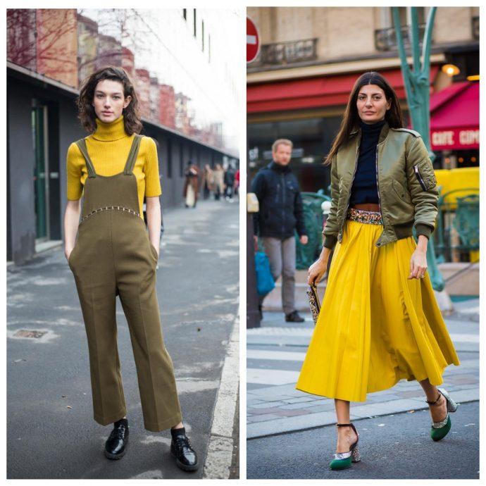 Одежда цвета хаки в сочетании с жёлтым