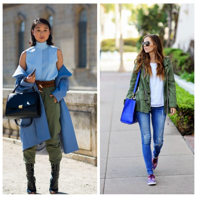 Одежда цвета хаки в сочетании с голубым