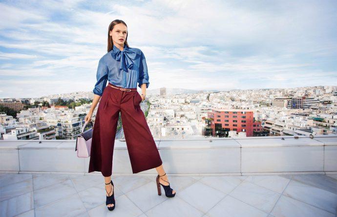 Образ с бордовыми брюками кюлотами