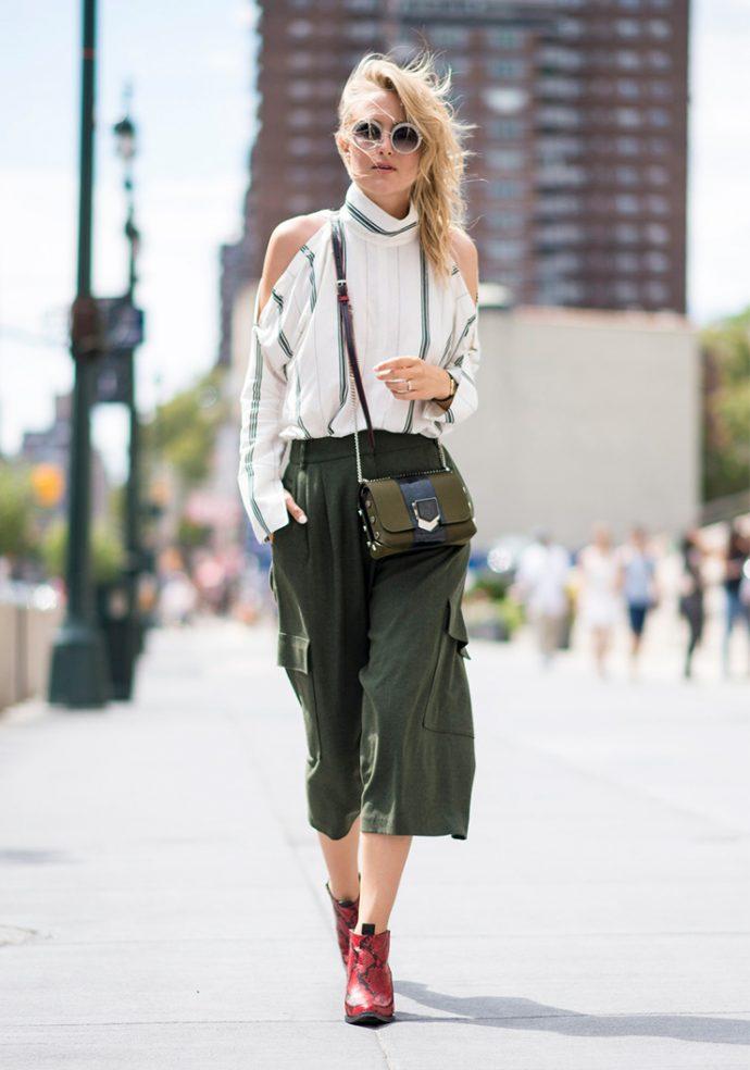 Образ с брюками кюлотами зеленого цвета
