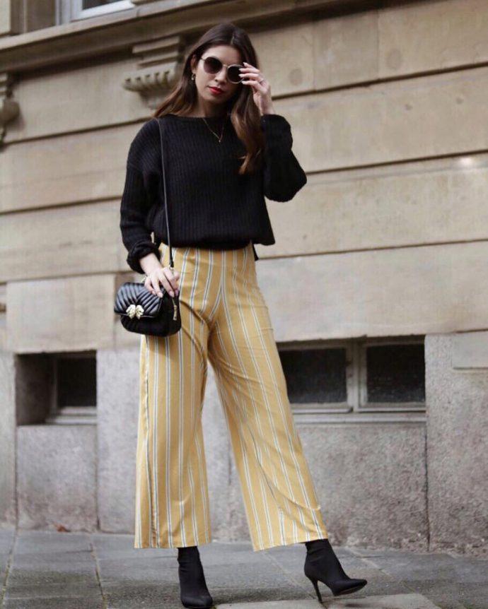 Образ с брюками кюлотами в полоску