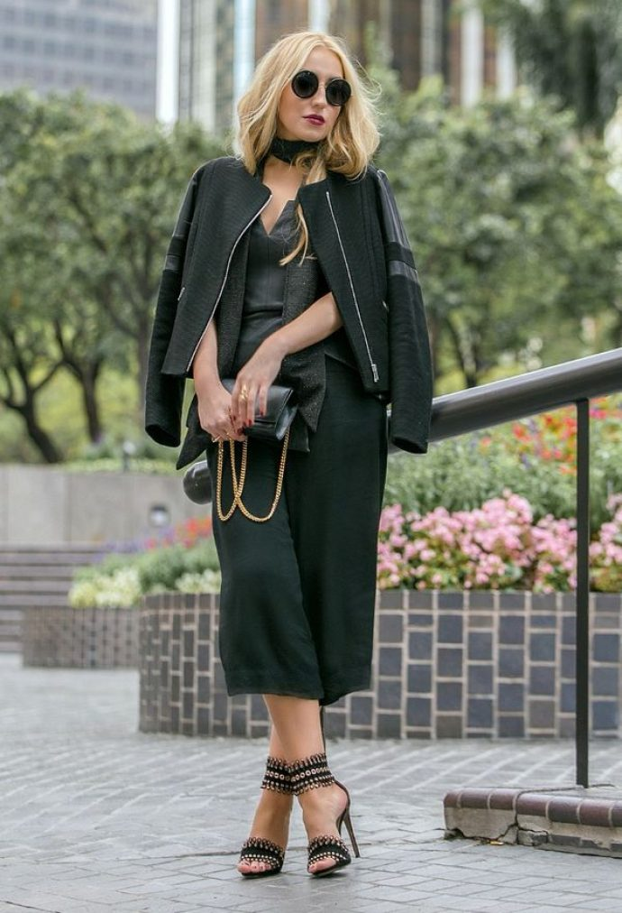 Образ с брюками кюлотами черного цвета