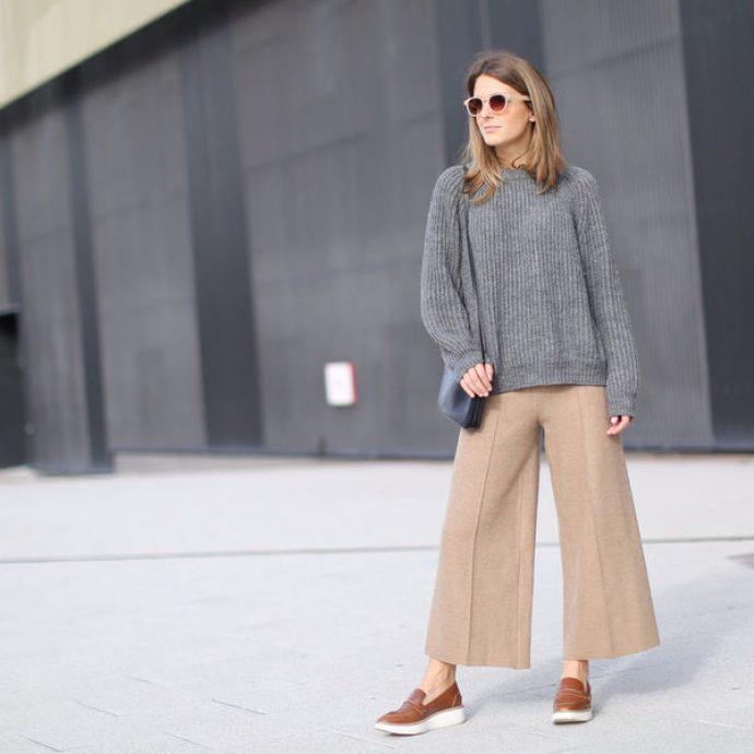 Образ с брюками кюлотами бежевого цвета