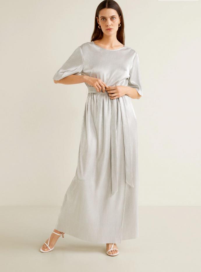 Серебряное платье макси