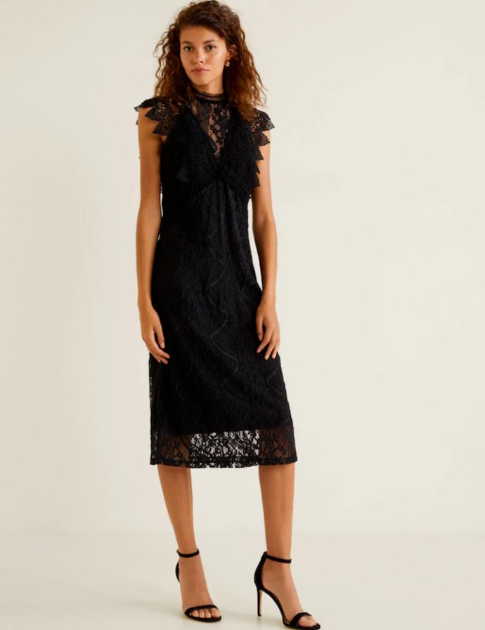 Чёрное ажурное платье