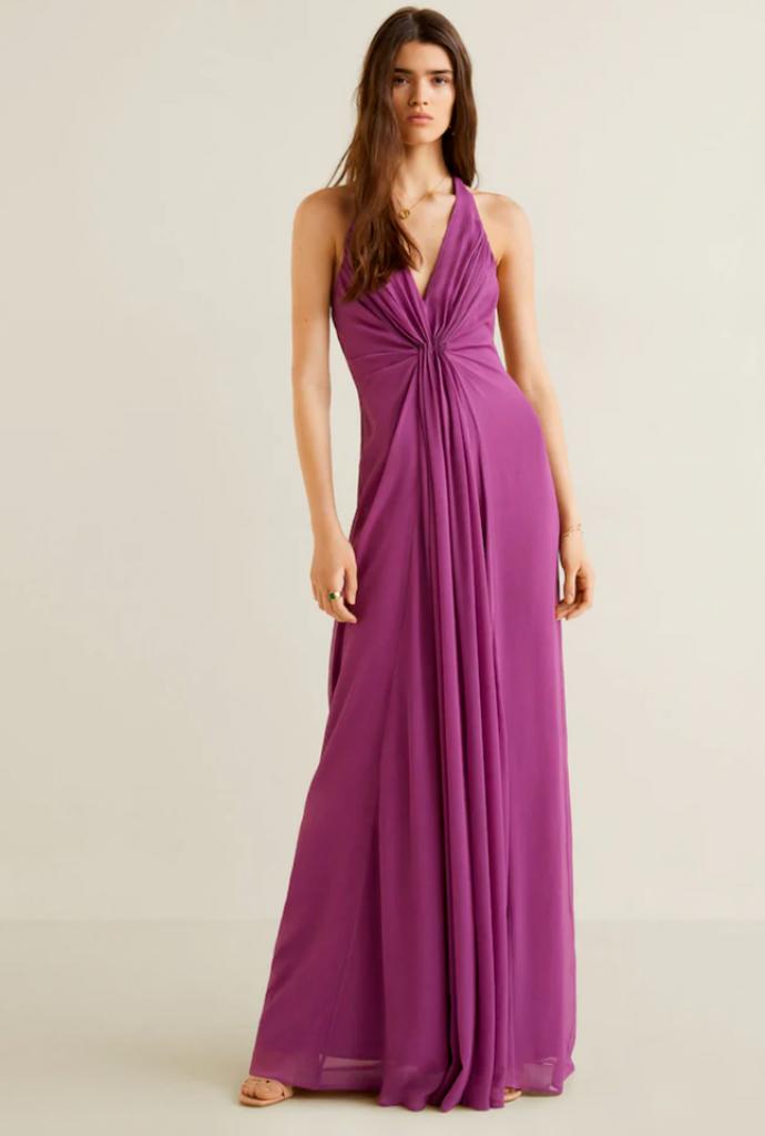 Сиреневое длинное платье