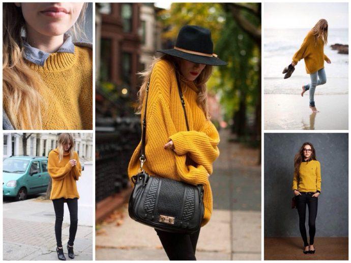 Образы со свитерами горчичного цвета