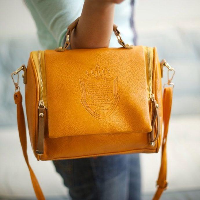 Женская сумка горчичного цвета