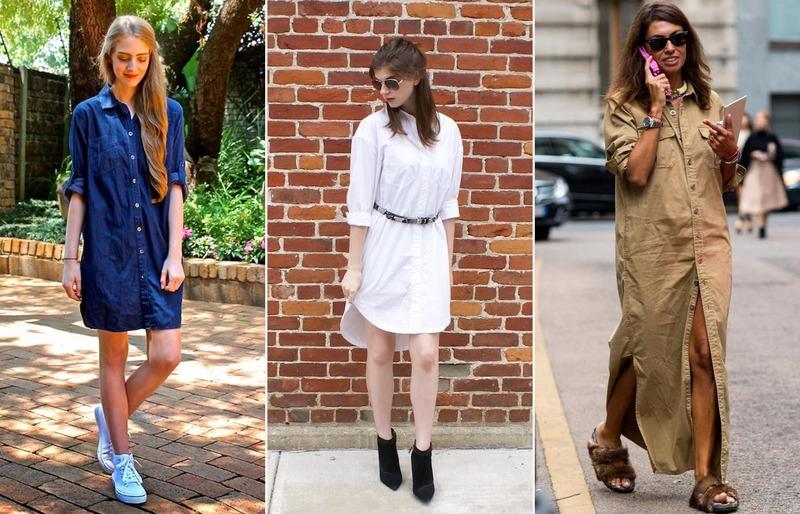 Как носить платье-рубашку