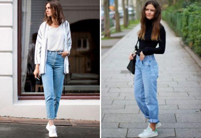 белые кеды с джинсами