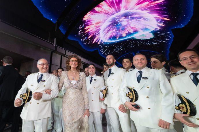 Софи Лорен на запуске лайнера