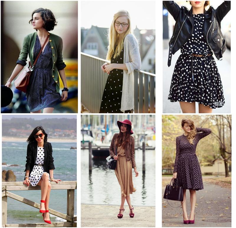С чем носить платье в горошек: 40 стильных образов