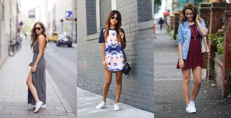 Платья с кедами и кроссовками: 7 стильных образов