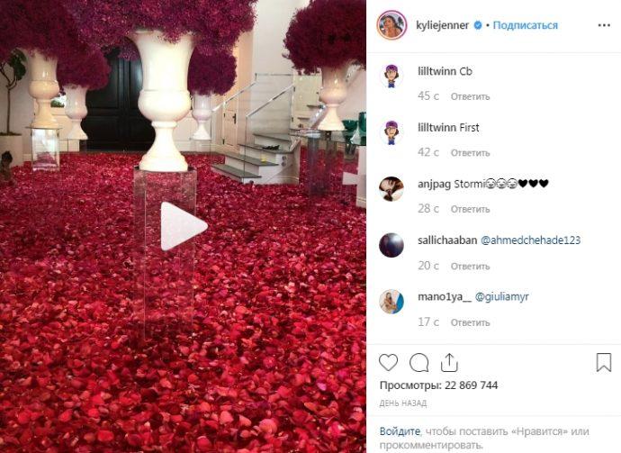 В Instagram Кайли Дженнер Выложила видео с лепестками роз