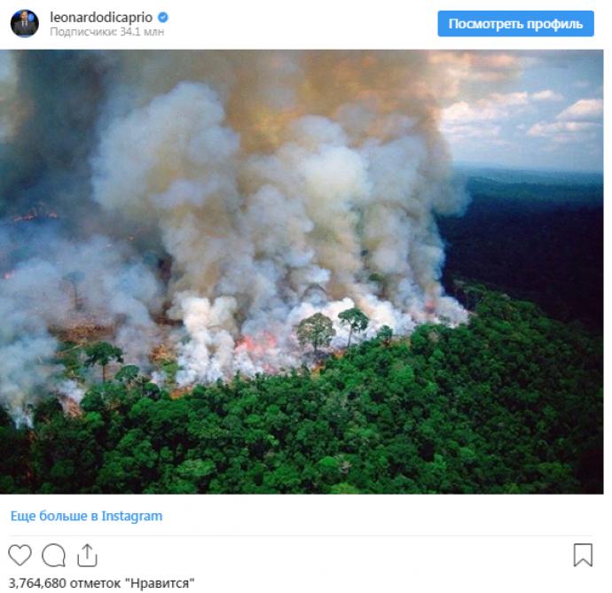Публикация ДиКаприо в Instagram