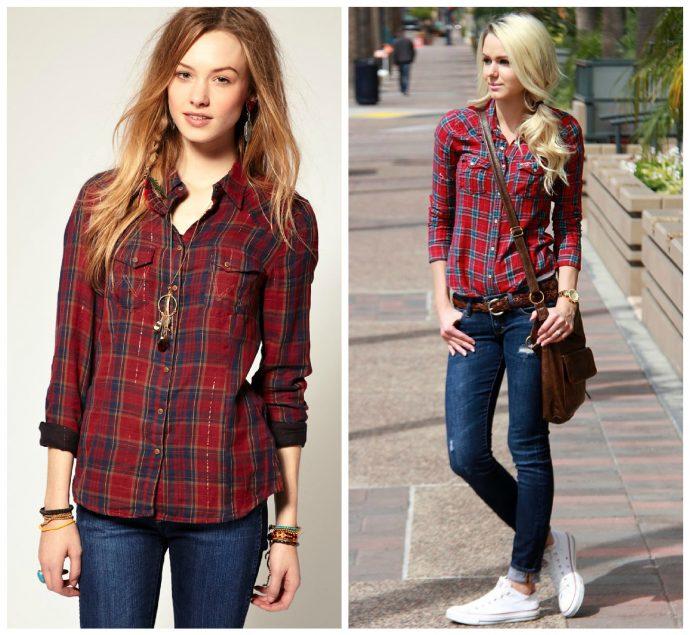 Клетчатая рубашка с джинсами на девушке