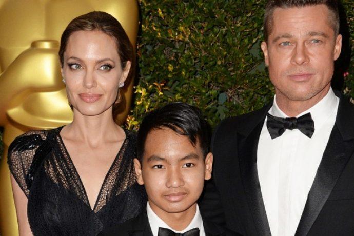 Анджелина Джоли и Брэд Питт с сыном — Мэддоксом