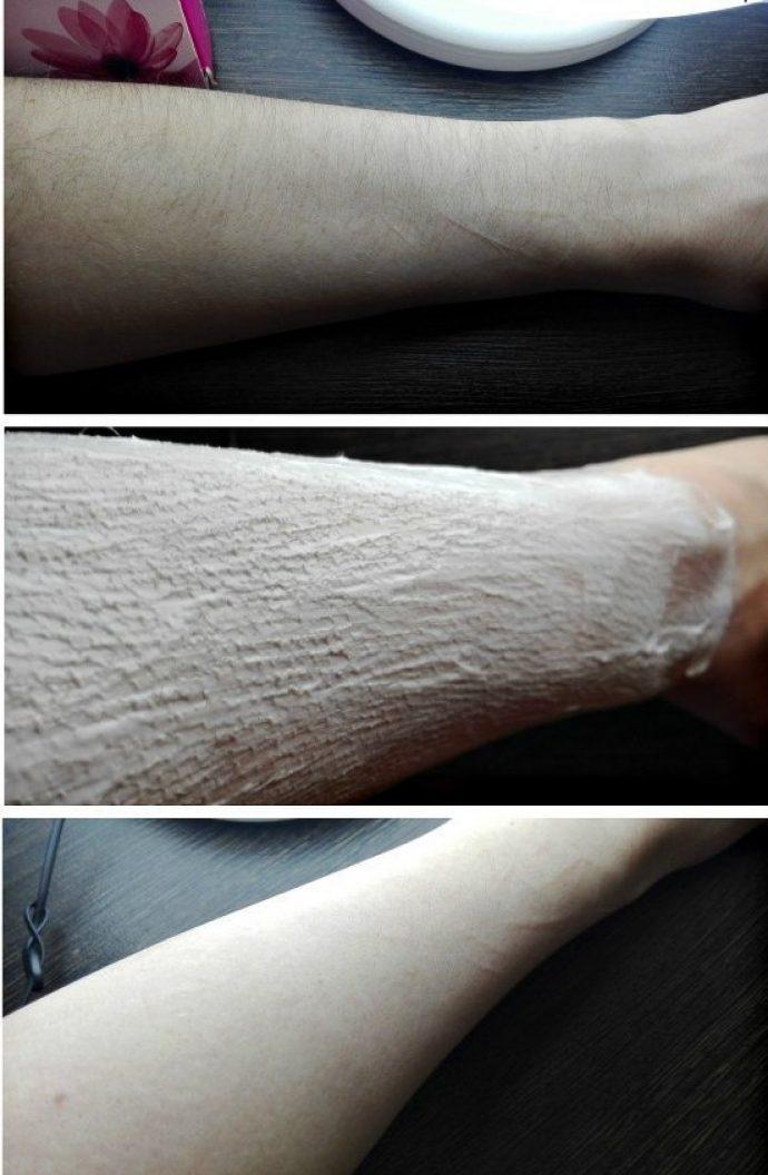Кожа на руке девушки до и после депиляции с помощью крема «Вит» для нормальной кожи
