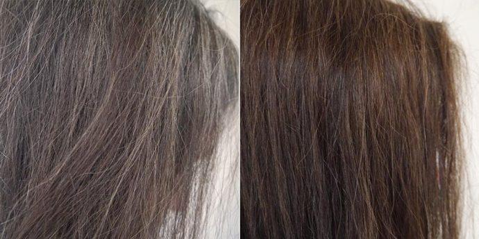 Волосы с сединой до окрашивания и после
