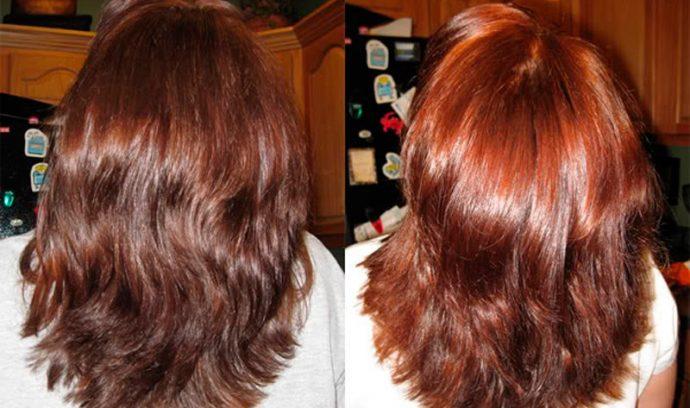 Результат окрашивания тёмных волос хной