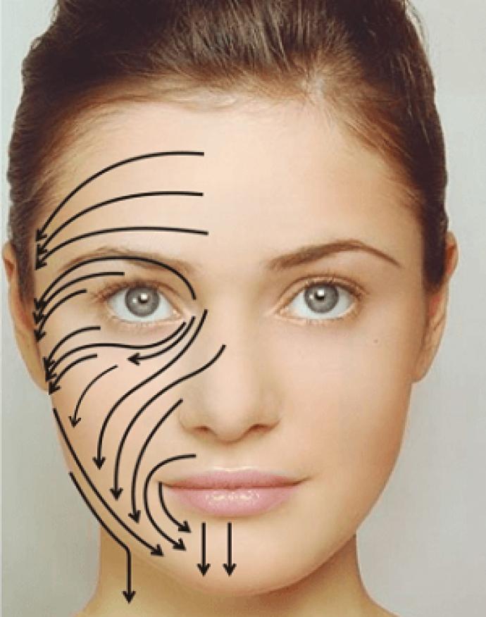 Массажные линии вдоль лимфатических сосудов