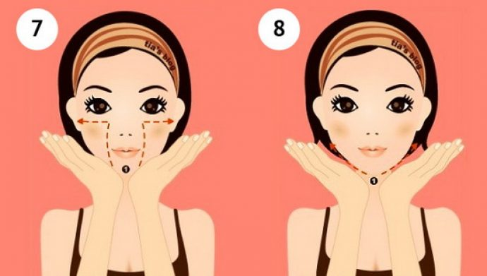 Самомассаж лица: шаги 7 и 8