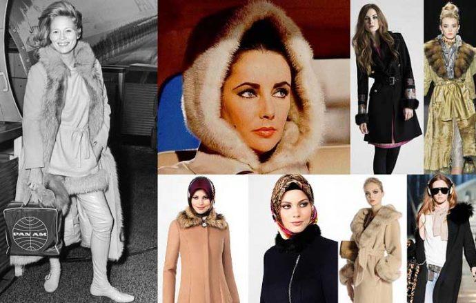 Девушка в пальто с меховой отделкой