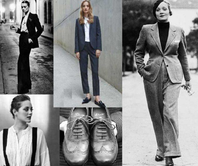 Женские образы с мужскими костюмами