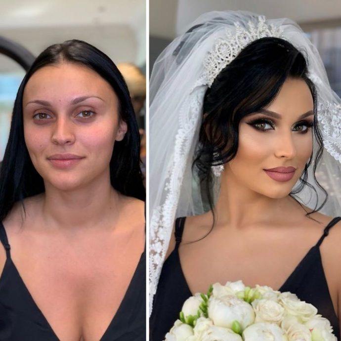 Невеста до и после макияжа