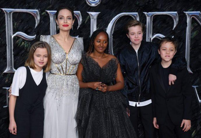 Джоли с детьми на премьере фильма «Малефисента-2» в Лондоне